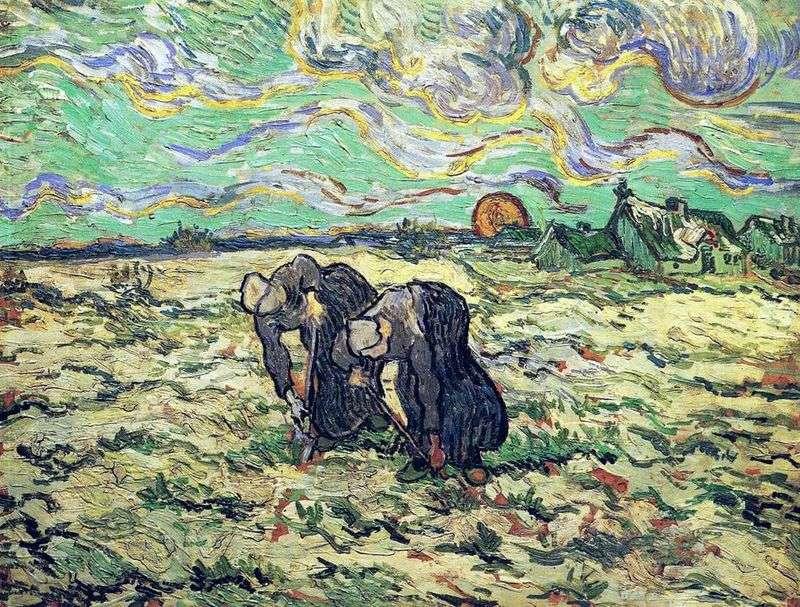 Dwie chłopki kopiące w polu ze śniegiem   Vincent Van Gogh
