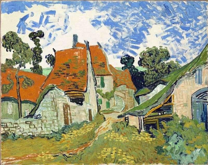 Village Street w Auvers   Vincent Van Gogh
