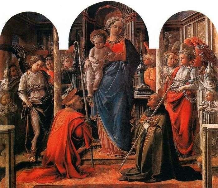 Madonna z Dzieciątkiem, otoczona aniołami, ze świętymi Frediano i Augustynem   Filippo Lippi