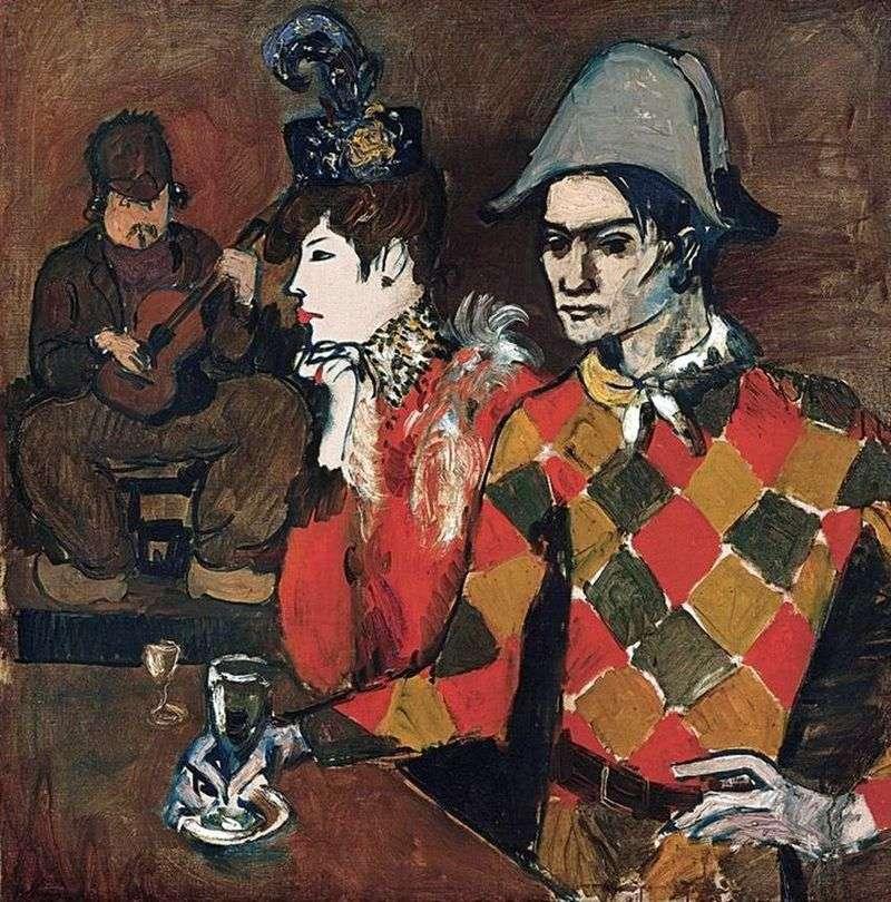 W kabarecie Królik Zwariowany lub Arlekin ze szklanką   Picasso Pablo