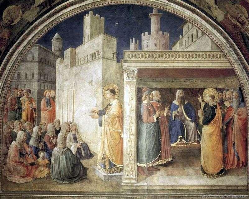 Kazanie sv. Stefan. Św. Szczepan przed Sanhedrynem   Angelico Fra
