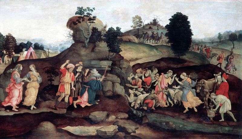 Mojżesz wydobywczy ze skały   Filippino Lippi
