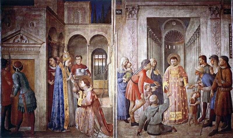 Św. Wawrzyńca, który bierze skarby kościoła i rozdaje je ubogim   Angelico Fra