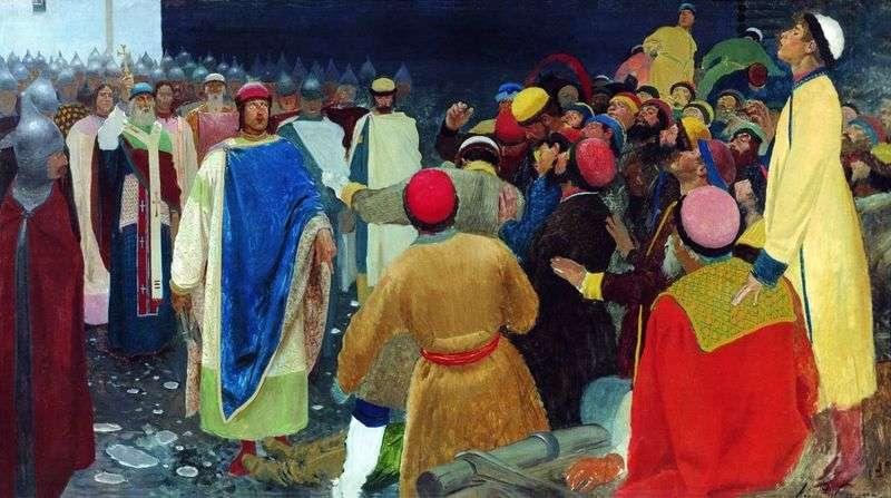 Książę Gleb Światosławski zabija czarnoksiężnika na zgromadzeniu w Nowgorodzie (dwór Książęcy)   Andrei Ryabuszkin