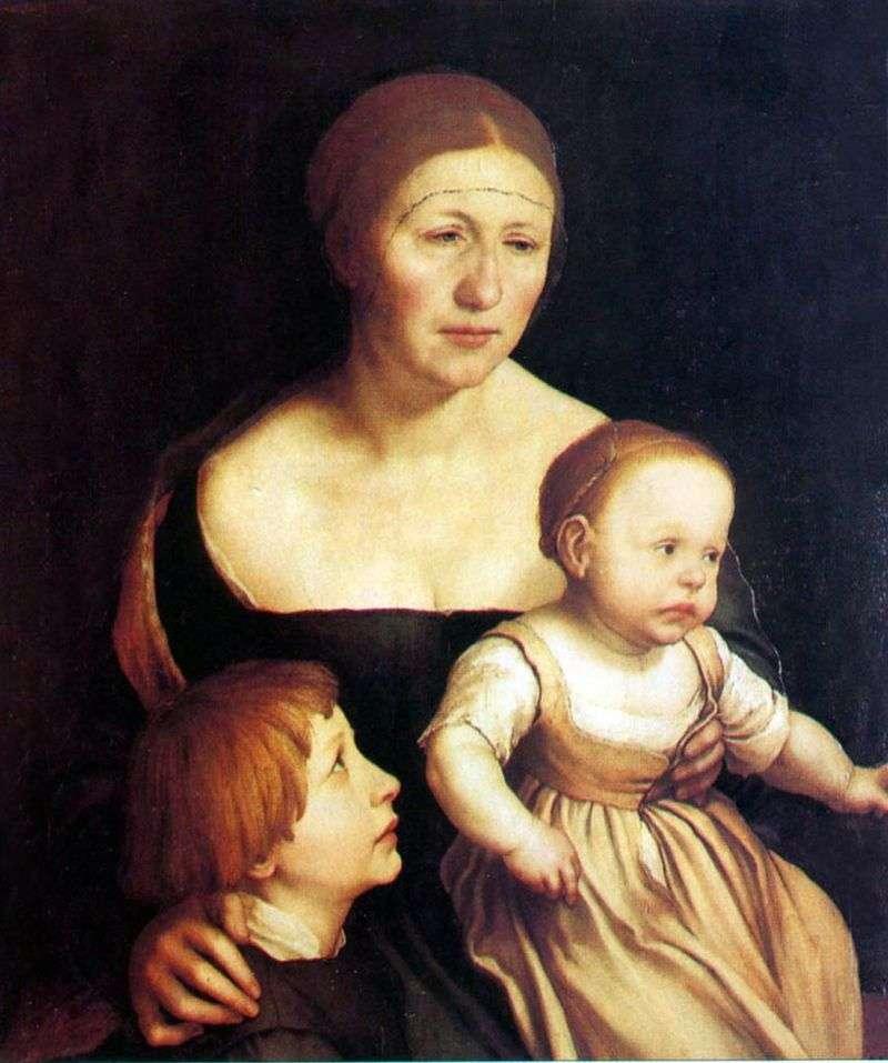 Portret żony i dzieci   Hans Holbein