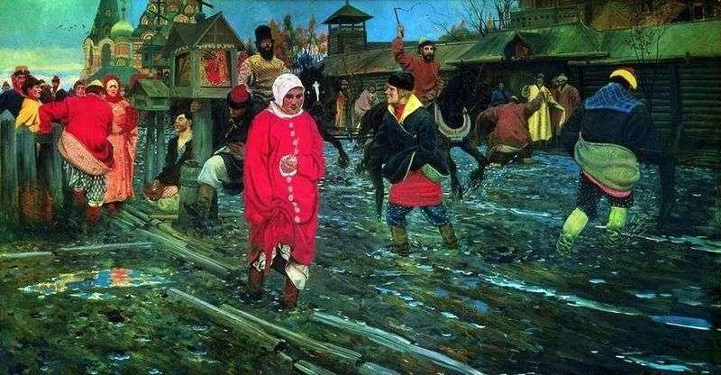 XVII wieczna Moskwa ulica na wakacjach   Andrei Ryabushkin