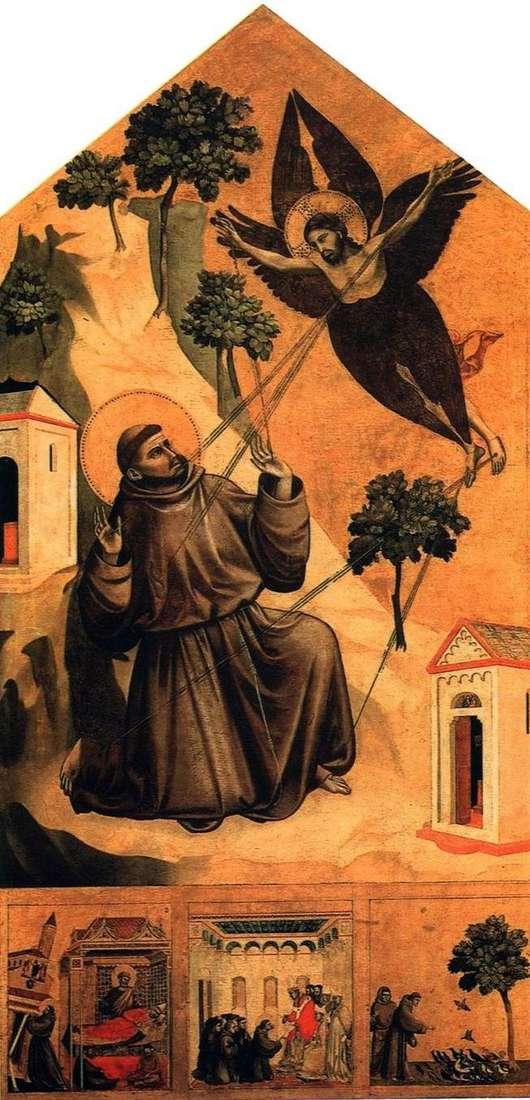 Św. Franciszek, otrzymujący stygmaty, z trzema scenami z życia   Giotto di Bondone
