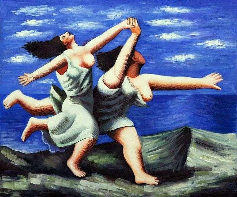 Dwie kobiety biegnące wzdłuż plaży   Pablo Picasso