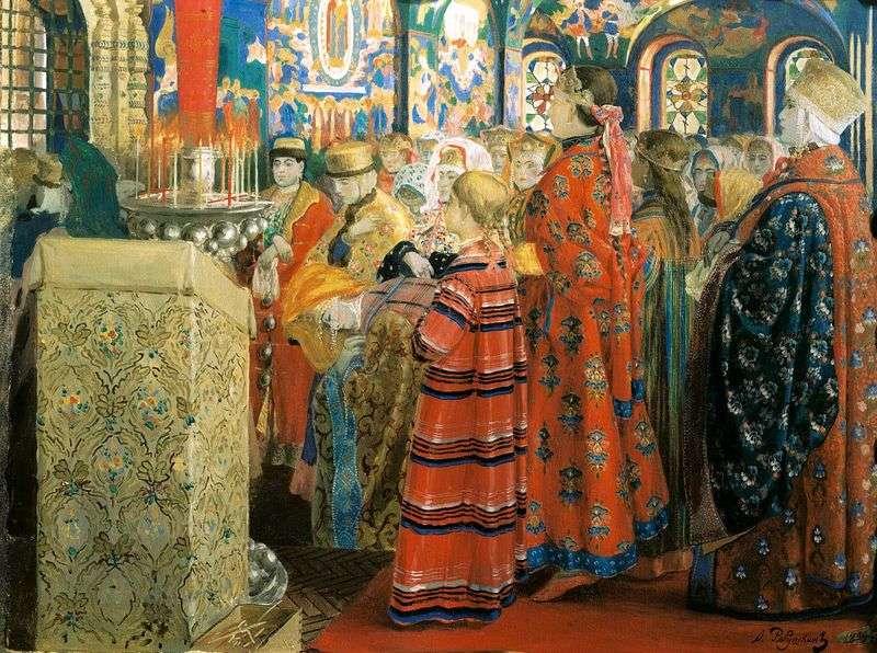 Rosjanki z XVII wieku w kościele   Andriej Pietrowicz Ryabuszkin