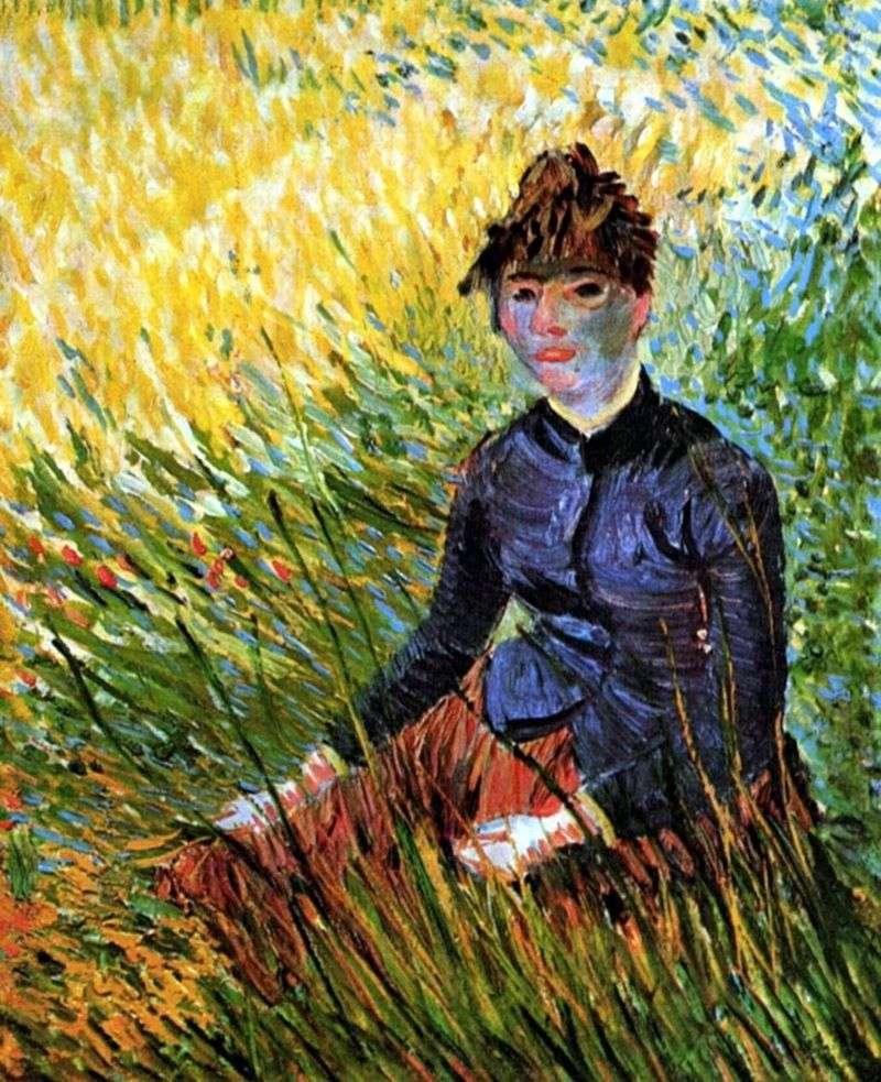 Kobieta siedzi w trawie   Vincent Van Gogh