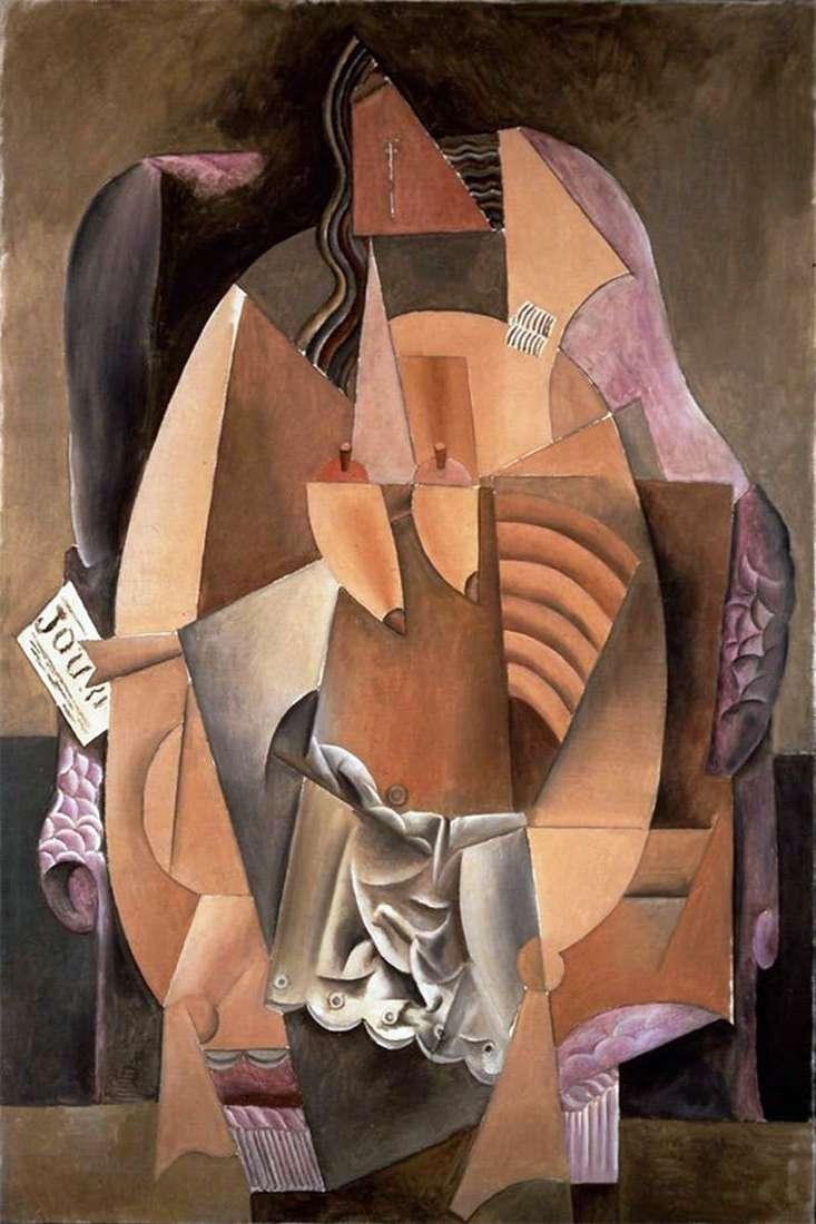 Kobieta w koszuli siedzącej na krześle   Pablo Picasso