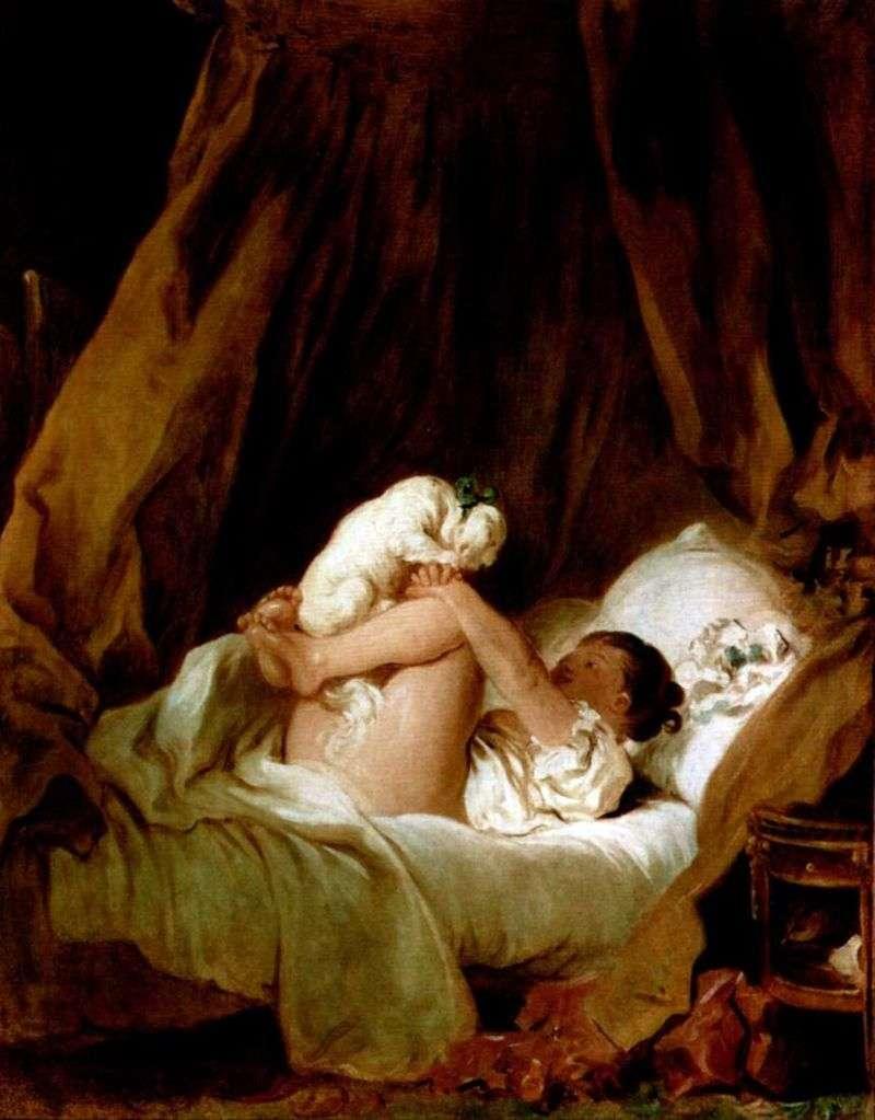 Dziewczyna w łóżku bawi się z psem   Jean Honore Fragonard