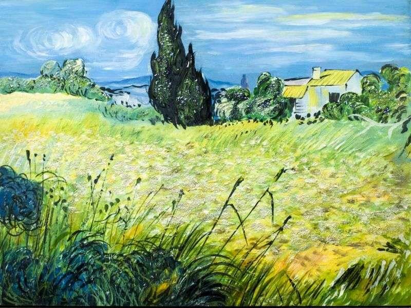 Zielone pole pszenicy z cyprysem   Vincent Van Gogh