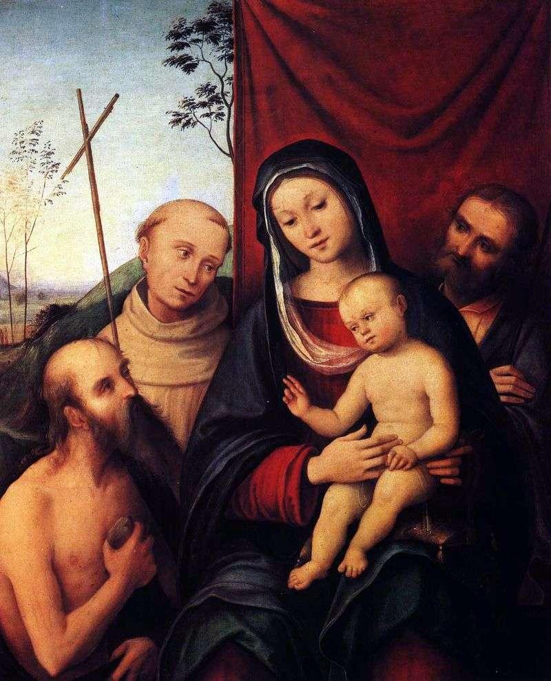 Święta rodzina z świętym Hieronimem i św. Franciszkiem z Asyżu   Costa Lorenzo