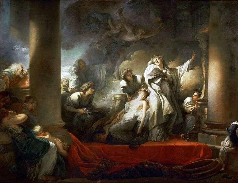 Ksiądz Korez poświęca się dla dobra Calliroi   Jean Honore Fragonard