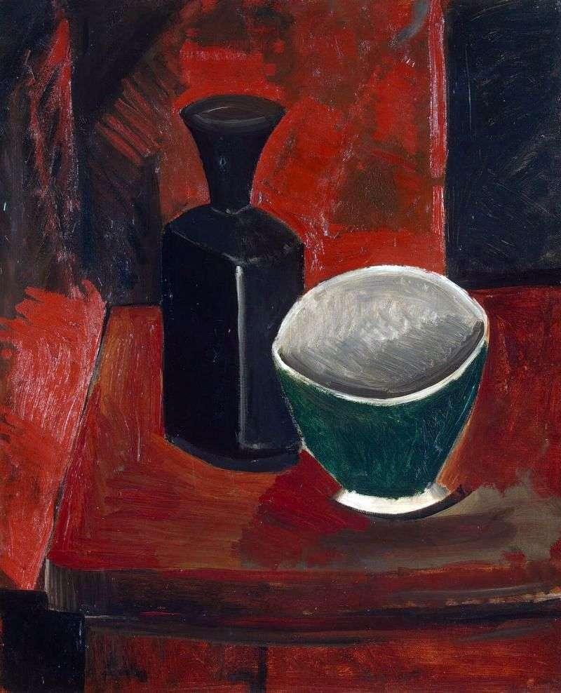 Zielona miska i czarna butelka   Pablo Picasso