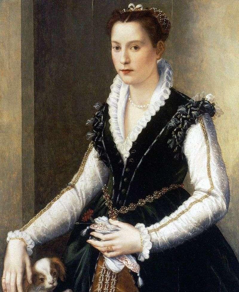 Isabella Medici z psem   Alessandro Allori