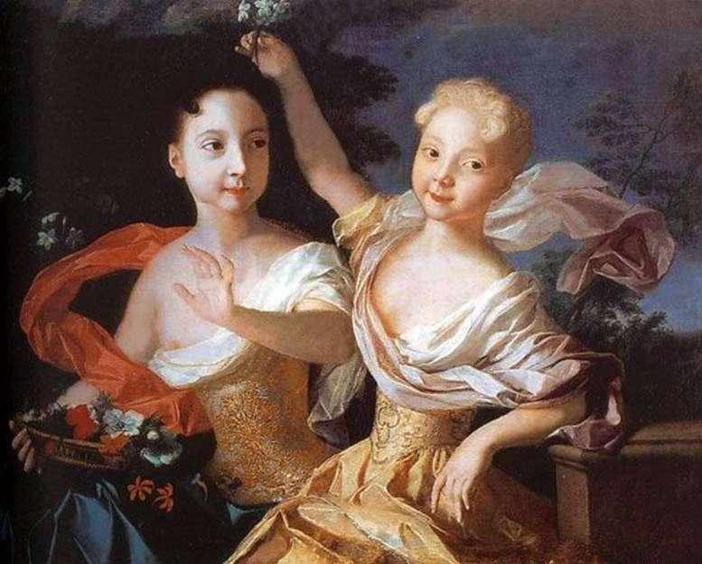 Portret księżniczki Anny Petrovny i Elizaveta Petrovna   Louis Caravaque
