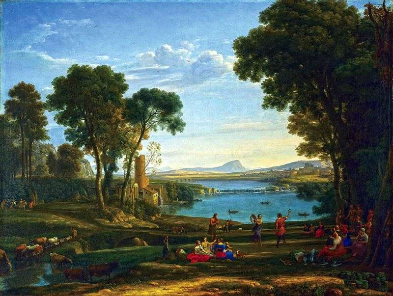 Krajobraz ze sceną ślubu Izaaka i Rebeki   Claudea Lorraina