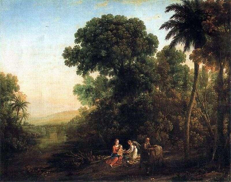 Krajobraz ze sceną odpoczynku w drodze do Egiptu   Claude Lorrain
