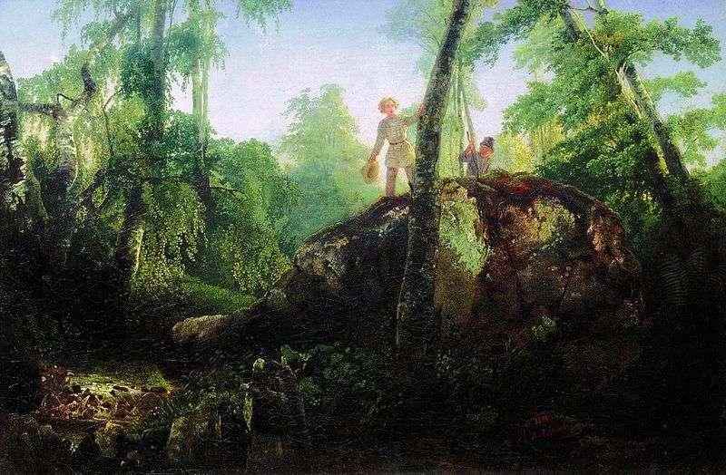 Kamień w lesie przy wycieku   Aleksiej Sawrasow