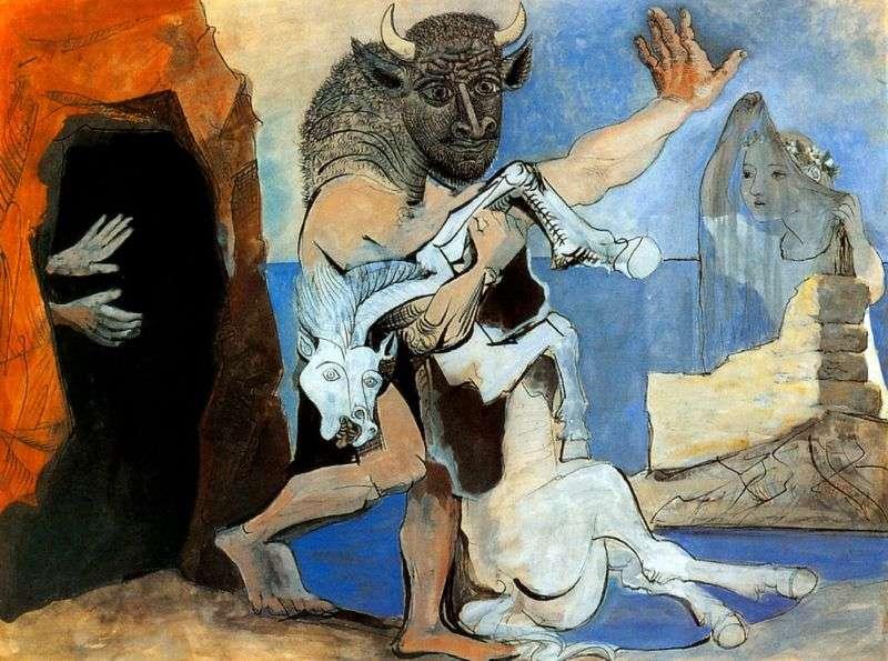 Minotaur z martwym koniem przed jaskinią   Pablo Picasso