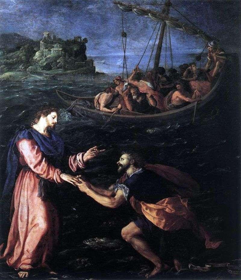 Święty Piotr chodzi po wodzie   Alessandro Allori