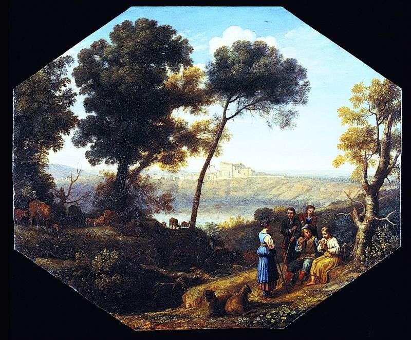 Wiejski krajobraz z widokiem na zamek Gandolfo   Claude Lorrain