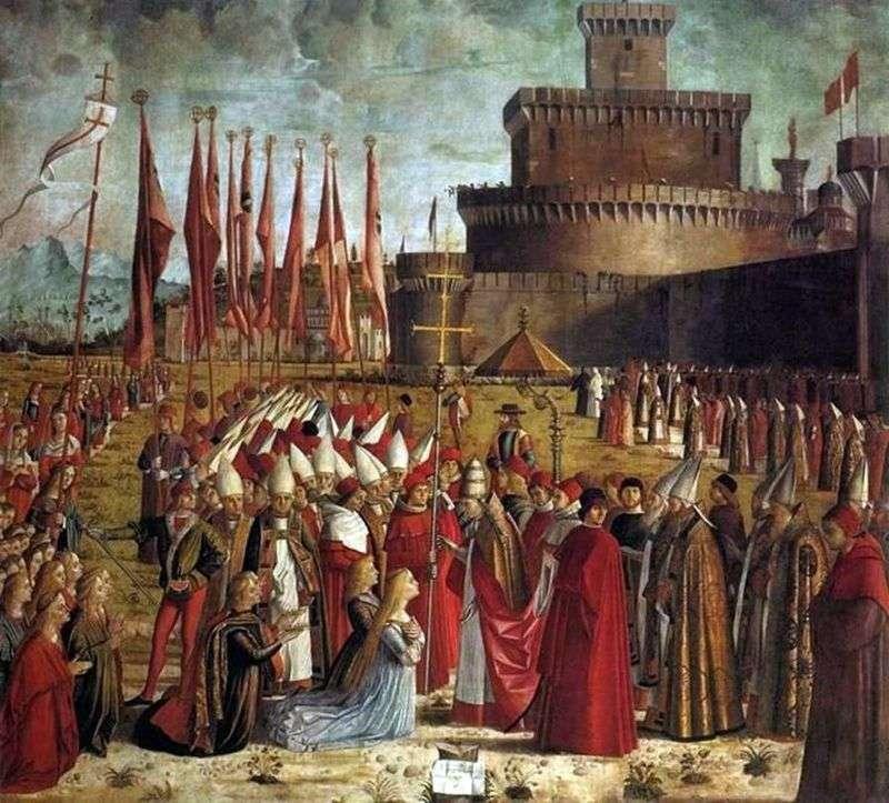 Spotkanie pielgrzymów z ojcem Kyriakiem   Vittore Carpaccio