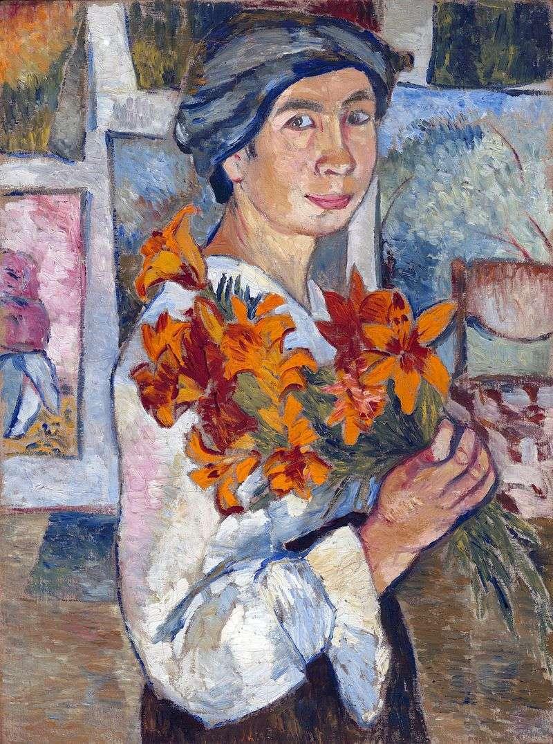 Autoportret z żółtymi liliami   Natalia Gonczarowa