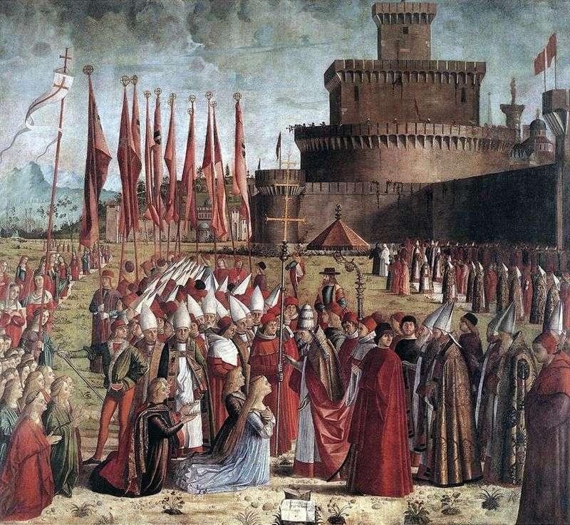 Spotkanie św. Urszuli i pielgrzymów z papieżem Cyriakiem   Vittore Carpaccio