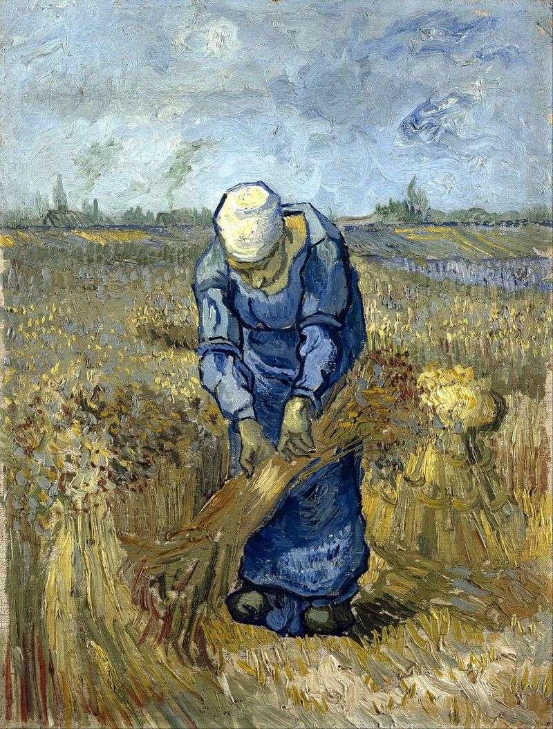 Chłopka dziergała snopy (po Millecie)   Vincent Van Gogh