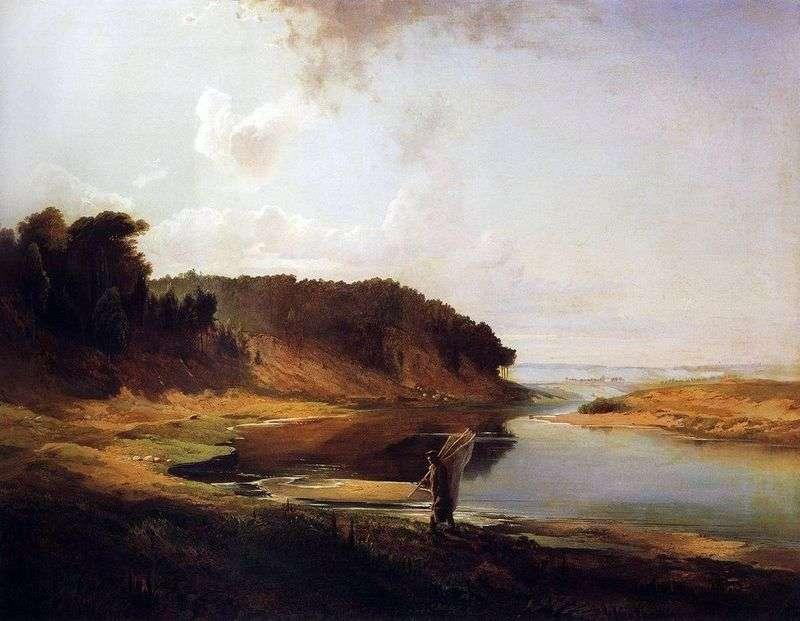 Pejzaż z rzeką i rybakiem   Aleksiej Sawrasow