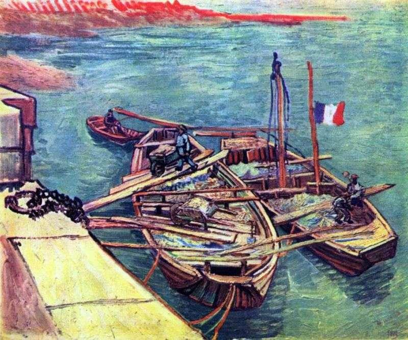 Łódki z piaskiem na molo   Vincent Van Gogh