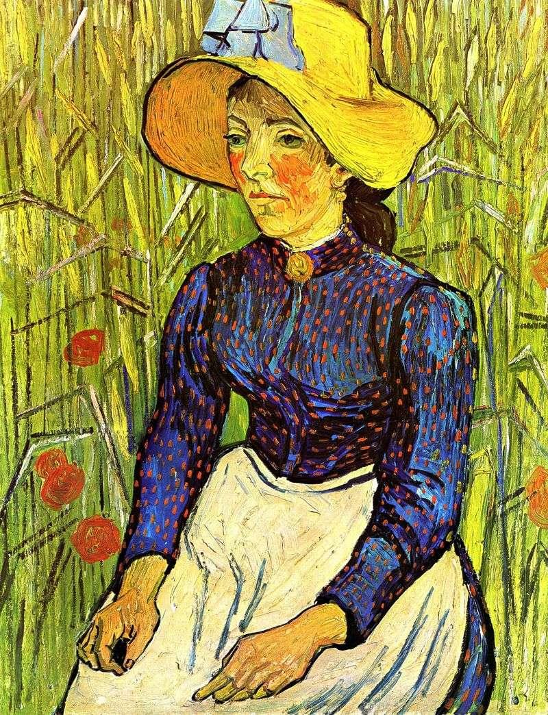Młoda wiejska kobieta w słomkowym kapeluszu   Vincent Van Gogh