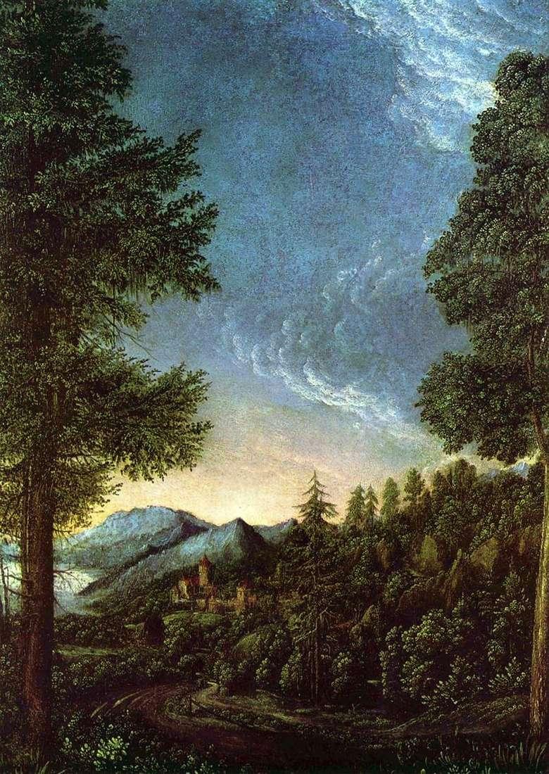 Widok na dolinę Dunaju pod Regensburgiem   Albrecht Altdorfer