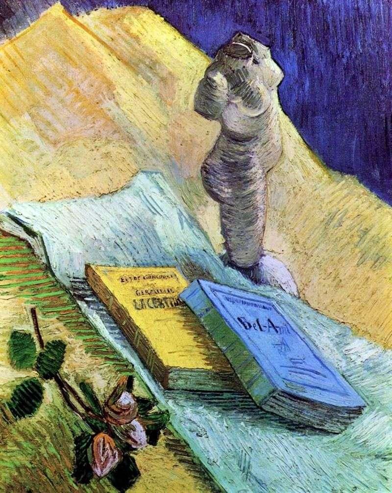 Martwa natura z tynkiem gipsowym, róża i dwie powieści   Vincent van Gogh