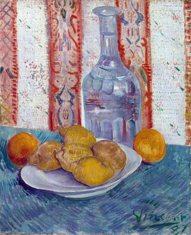 Martwa natura z karafką i cytrynami na talerzu   Vincent van Gogh