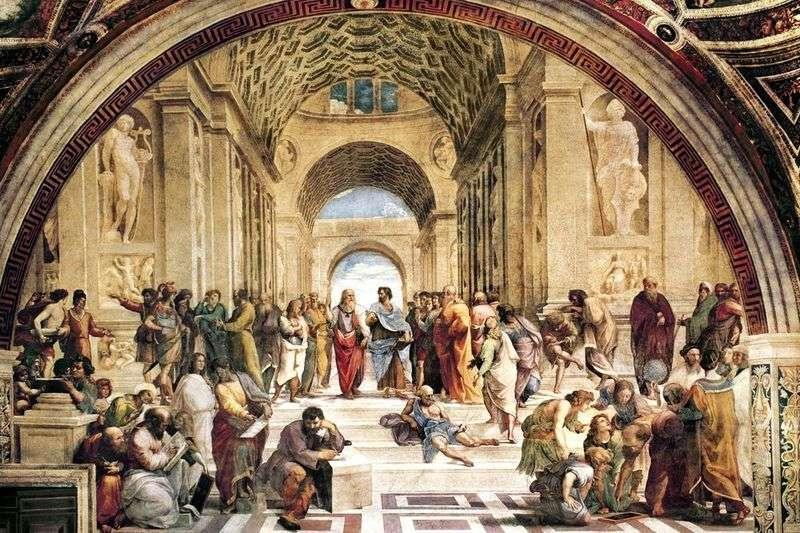 Szkoła ateńska. Malowanie Stanze della Senyatura   Rafael Santi