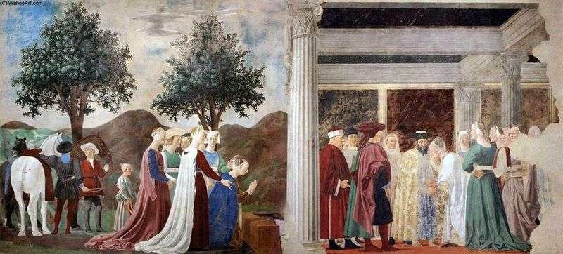Przybycie królowej Saby do króla Salomona   Piero della Francesca