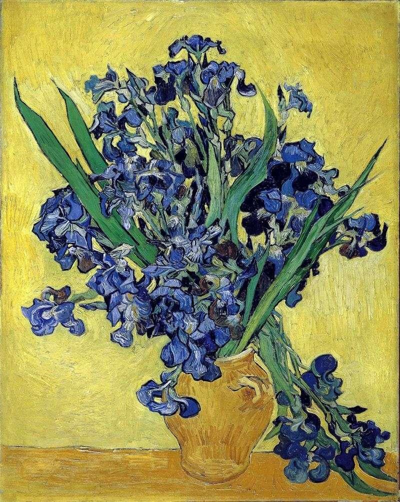 Martwa Natura Waza Z Irysy Na Zoltym Tle Vincent Van Gogh