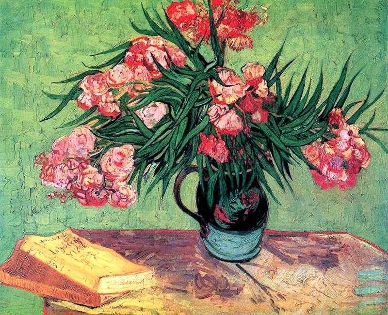 Still Life: Waza z Oleandrami i Książkami   Vincent Van Gogh