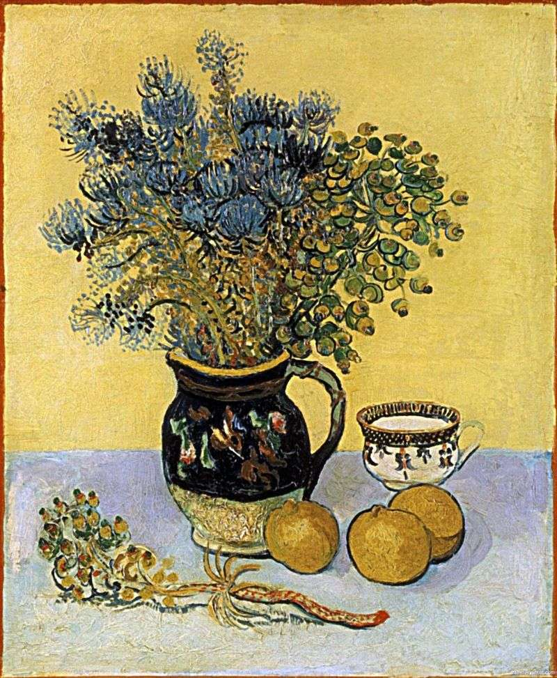 Martwa natura: dzbanek Majolica z kwiatami   Vincent Van Gogh