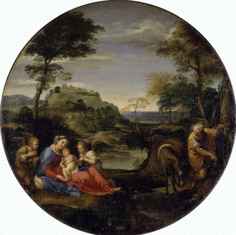 Pejzaż ze sceną reszty Świętej Rodziny w drodze do Egiptu   Annibale Carracci