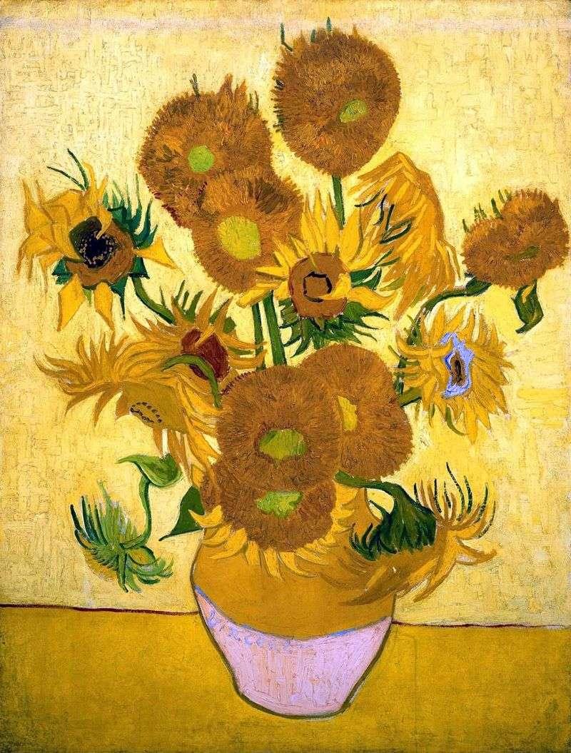 Martwa natura: piętnaście słoneczników w wazonie   Vincent Van Gogh