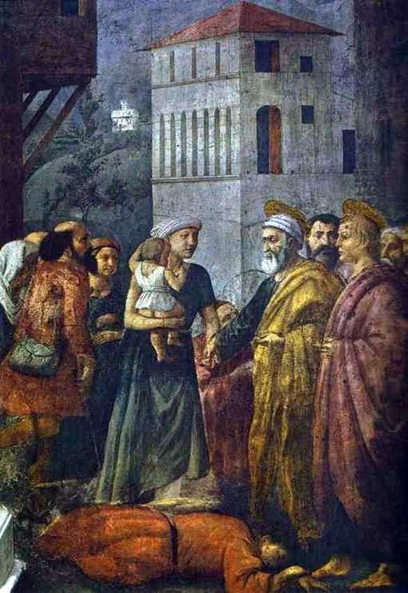 Święty Piotr, rozpowszechniając własność wspólnotową wśród ubogich   Masaccio