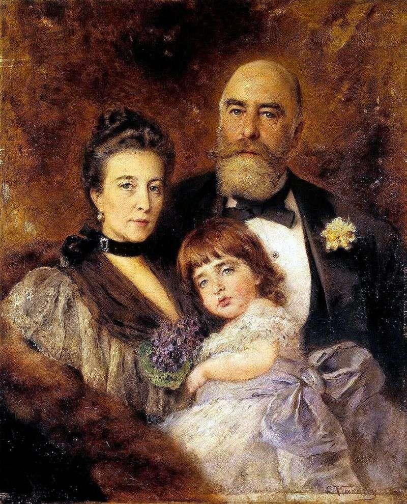 Portret grupowy M. S. Volkov, S. N. Volkova i S. M. Volkov Manzey   Vladimir Makovsky