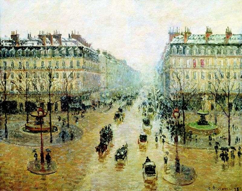 Podróż opery w Paryżu. Efekt śniegu. Rano   Camille Pissarro