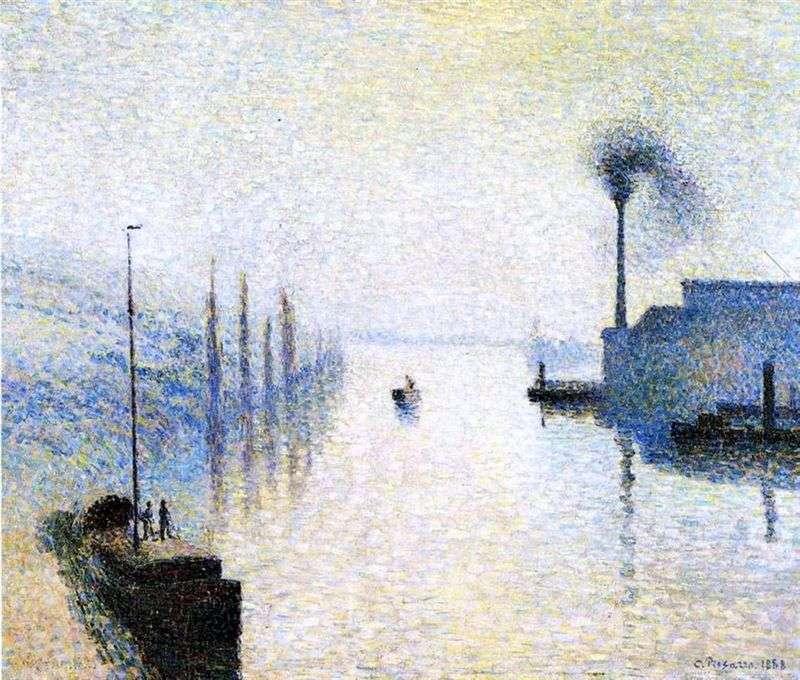 Wyspa Lacroix we mgle. Ruan Efekt mgły   Camille Pissarro
