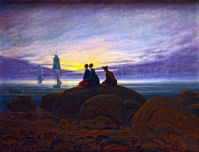 Wschód Księżyca nad morzem   Caspar David Friedrich